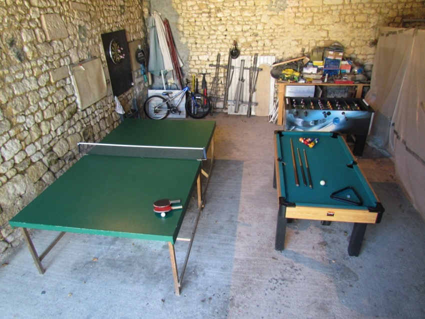 Large games area in barn