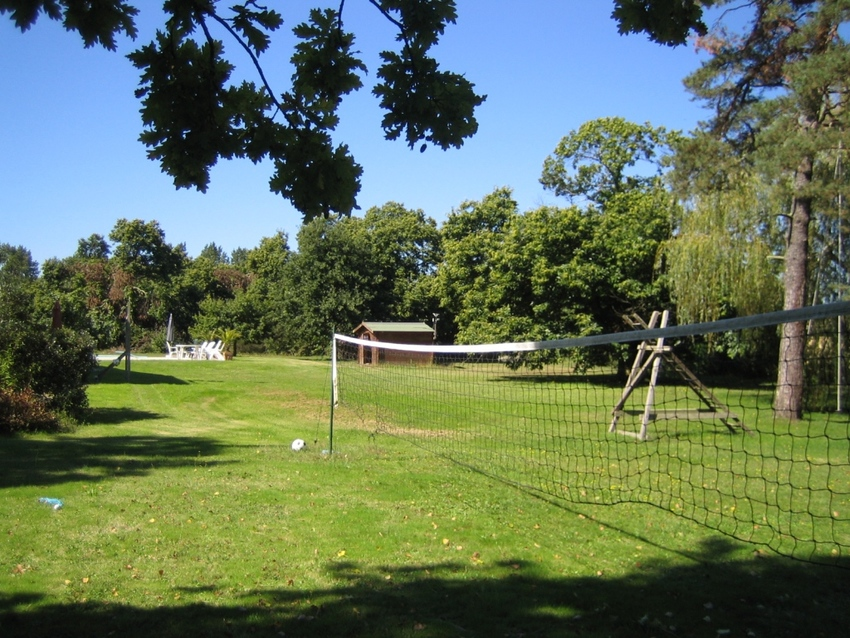 Large grounds   volley ball net with rope swing behind