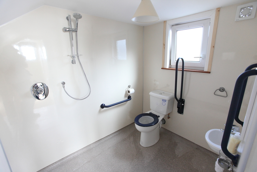 Large rebecca cottage adapted bathroom for suitable accommodation article